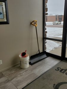 Winter shovel and ice clearing supplies